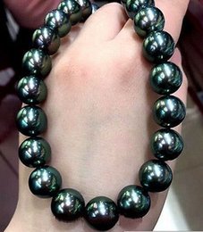 Huge silver cHain online shopping - Fast Real New Fine Genuine Pearl Jewelry Huge inches mm Tahitian Peacock Green Pearls Necklace silver