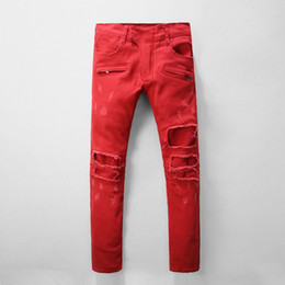 Jeans Droits Rouges Pas Cher-Hommes Straight Denim Biker Jeans Ripped Classic Pants Distrressed Red Jeans Pantalons Slim fit America Red