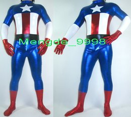 Wholesale captain america full suit for sale – halloween Unisex Fantastic Superhero Suit Costumes Blue Red Shiny Lycra Metallic Captain Body Suit Fancy Captain America Catsuit Costumes No Head M239