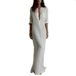 Robes De Plage Maxi Pas Cher Pas Cher-Vestido Plus Size 2017 Robe de coton décontractée en printemps Sexy Deep V-Neck Linge en vrac Long Maxi Cheap Beach White Dress FS0657