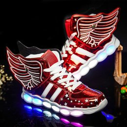 $enCountryForm.capitalKeyWord Canada - New Children Casual Shoes Lights Glowing usb charging Boys Girls LED Shoes For Kids Luminous Lighted Up Shoes Sneakers with wings men woman