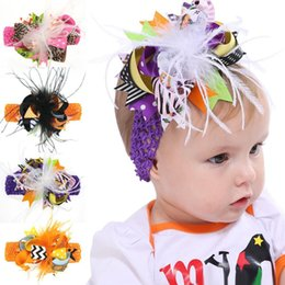 Barato Fita Do Dia Das Bruxas Para Curvas Do Cabelo-Halloween Hair Bow Clips Headbands Infant Feather Hairpins Baby Striped Dot Patchwork Ribbon Hairbands Acessórios para cabelo infantil Headwear