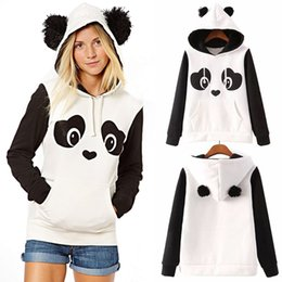 Discount woman white coats outfit - Fall Winter Women Casual HoodedSweater with Long Sleeve Cute Panda Fleece Pullover Girls Warm Coat Outfit ZL3481
