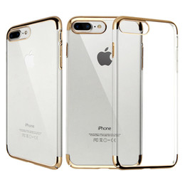 iphone 5c clear UK - Soft TPU PC Electroplating Ultral Thin Phone Case Clear Rubber Gold Plating Crystal Phone Back Cover For Apple Iphone 7 7plus 5 5c 6s 6plus