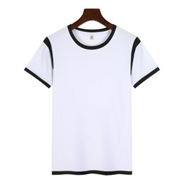 plain color t shirts wholesale Canada - Summer Basic T-shirts Short Sleeve T shirt Modal Fabric for Sublimation Printing Sports Tees Plain White with Color Collar