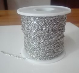Silver Rolled Chain Canada - factory price 100m Roll Strong Silver Tone Thin 1.5mm Oval Cross Chain Stainless Steel Jewelry Finding Chain Marking DIY hot selling