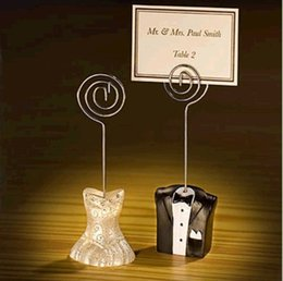 $enCountryForm.capitalKeyWord UK - wedding favor place card holder--Tuxedo and Gown Wire Table Number Memo Photo Clip Party Decoration 100pcs lot
