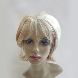 Wig Short White NZ - White Blonde Ombre Short Wig for White Women Synthetic High Heat Fiber Pelucas Pelo Natural Perruque Courte Perucas Loira