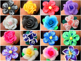 $enCountryForm.capitalKeyWord NZ - Wholesale 50pcs lot Mixed Beautiful Clay Flower Design Rings Adustable Size for Woman Jewelry Rings Low Price