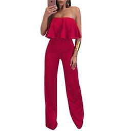 Barato Calça De Ruffle Larga-Sexy Ruffles Strapless Jumpsuit Solid Red / Blue Wide Leg Pants Mulheres Casual Nightclub Long Pants Overalls w / Zipper Barras não-silp