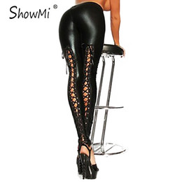 Pantalons Sexy En Cuir Femme Gothique Pas Cher-Vente en gros- ShowMi Apparel Haute qualité One Size Gothic Punk Rock Pants Bandage Lace Up Femmes PU Faux Black Leggings en cuir sexy