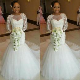 $enCountryForm.capitalKeyWord Canada - Long Sleeve Mermaid Wedding Dresses Transparent Neck Beaded Lace Tulle 2017 New Bridal Gowns Custom Made Fashion