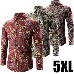 Style Bohème Plus Vêtements De Taille Pas Cher-Vente en gros - 2017 Printemps Fashion Casual Slim Fit à manches longues Retro Floral Shirt Mens 5XL Plus Size Bohemian Style Male Clothing