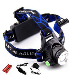 Опт Фара 18650 Led Headlamp XM-L T6 Zoom Аккумуляторная лампа Водонепроницаемый 5000LM He + 18650 Батарея Фара Фонарик Фонарь ночная рыбалка