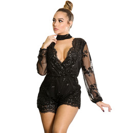 Pure Broderie Combinaison À Manches Longues Pas Cher-New Stylish Women Sexy Playsuit Spring Black Transparent Mesh à manches longues Romper Sequin Embroidery Sheer Club Jumpsuit S64247