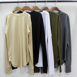Wholesale 5 Colors Mens Base Layers Long Sleeve Extended T Shirt Curve Exlongated Extra Long Oversized Top Tees