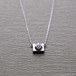 Mini Necklace Camera Canada - 5pcs lot 925 Sterling Silver Statement Necklaces Mini Camera Shape Pendants&Necklaces Women Trendy Jewelry collier en argent
