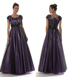 $enCountryForm.capitalKeyWord Canada - Simple Lace Tulle Black Purple Long Modest Prom Dresses With Cap Sleeves Lace-Up Back A-line Floor Length Prom Gowns Teen Cheap Party Dress