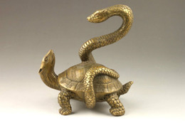 Turtles Blocks Canada - Elaborate Chinese Collectible Decorated Old Handwork Copper Snake Turtle Auspicious Statue