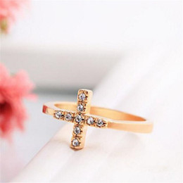 Gemstone Crosses Wholesale Canada - Diamond Rings Christian Rhinestone Cross Finger Rings for Women DHL Cocktail Gemstone Ring 18K Gold Size Women's Gift Trend Jewelry