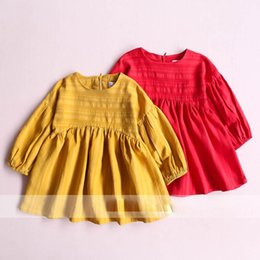 Robe À Volants Jaunes Pas Cher-Everweekend Girls Spring Fall Ruffles Robe en coton Sweet Candy Color Cute Children Long Sleeve Robe de vacances rouge et jaune