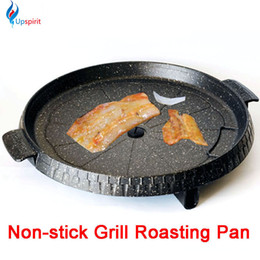 Round Cooking Pan NZ - Hot Cooking Tools Aluminum Alloy Gas Grill Pan Non -Stick Meat Griller Round Black Frying Roasting Pans Steak Bbq Barbecue Espeto