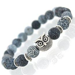 Großhandel 2017 New Owl Naturstein Perlen Armband Armreif für Männer Frauen Stretch Yoga Lava Stein Schmuck Mode-accessoires für Liebhaber