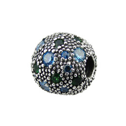 flowers free UK - 2017 NEW summer silver bead Fits for pandora bracelets 100% 925 sterling silver clip beads with green CZ wholesale diy ball charm free