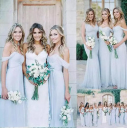 Discount cheap boho winter wedding dresses - Gorgeous Draped Sky Blue Off-shoulder Beach Boho Long Bridesmaid Dresses Bohemian Wedding Party Guest Bridesmaids Gown C