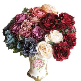 Chinese  Wholesale-French style Hi-Q bicolor artificial rose 13 heads hybrid silk peony decorative flower bouquet wedding party vase decoration manufacturers