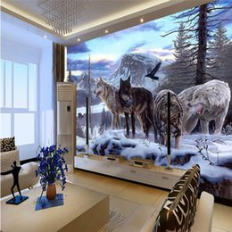 Custom printed photo baCkdrops online shopping - Modern Home Improvement Custom D Photo Wallpapers Lifelike Animals Snowy Wolf Backdrop Murals For Study Room Papel De Parede