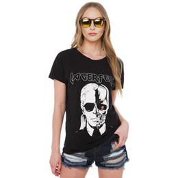 67083bd9f6543 Wholesale-Women LAGERFELD Letter T-shirt 2016 New Skull Printed Black Punk  Cotton T Shirts Womens Tops Brand Plus Size Tee Top QA925