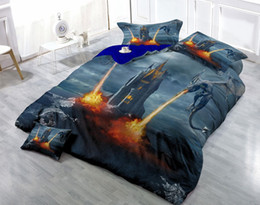 extra long beds Canada - Custom Drawings Can be Customized 3D Castle Dinosaurs War Digital Printing Cotton Satin 4-Piece Duvet Cover Sets Bedding Sets