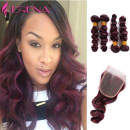 Discount 7a grade virgin hair bundles - Grade 7A Wine Red Brazilian Remy Human Hair Extensions 5Pcs Five Piece Burgundy Virgin Hair Bundles 99j Peruvian Hair Lo