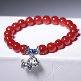 Ágata Vermelha Único Círculo Buda Beads Doze Animal Forma Pulseira Moda Japão e Coreia Do Sul Jóias venda por atacado