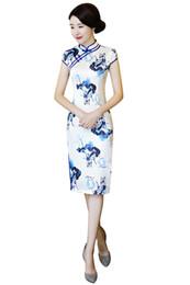 Шанхай история Белый Qipao длиной до колен китайское платье цветок печати китайский стиль платье китайский Восточный платье женщин cheongsam