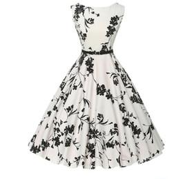 Discount plus size audrey hepburn dress - Wholesale- Summer women dress plus size long vintage dress Audrey Hepburn Swing Floral Women Retro Rockabilly 50s 60s Vi