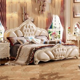 Beds Leather NZ - style Fashion European French Carved bed furniture 1.8 m leather bed 10306