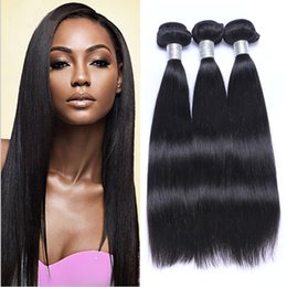 virgin european human hair 2019 - Brazilian Human Remy Virgin Hair Straight Hair Weaves Unprocessed Hair Extensions Natural Color 100g bundle Double Wefts