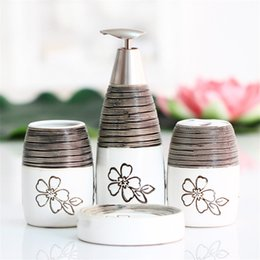 Bathroom Accessories Wholesalers Canada - Black White Thread Exquisite European Palace Style 4pc Dispenser Toothbrush Holders Floral Pattern Bathroom Accessories