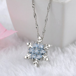 vintage snowflake necklace 2019 - Charm Vintage lady Blue Crystal Snowflake Zircon Flower Silver Necklaces & Pendants Jewelry for Women