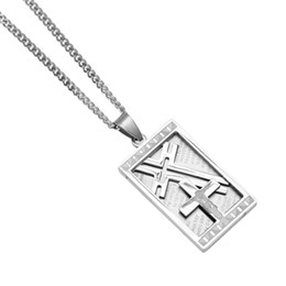 China Mens Silver Stainless Steel Christian Bible Lords Prayer Cross Jesus Pendant Necklace Dog Tag Pendant Chain Hip Hop Jewelry cheap lords prayer pendant suppliers