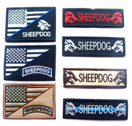 c3829de66d8 Embroidery America Flag Patch Sheepdog Tactical Patch Morale Armband Hook  And Loop Army Combat Badge 2pcs