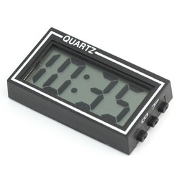 Car Led Clock Time NZ - Wholesale-New Arrival High Quality Small Digital LCD Car Dashboard Desk Date Time Calendar Clock with Double-sided tape