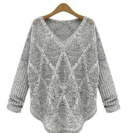 Barato Importações De Roupas Femininas-Atacado-Mulheres Poncho Knitted Sweater Outwear Pullover Marca Tricot V-neck Tops Pullover Thin Hollow Out Pullover Sólidos importados vestuário