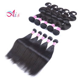 Brazilian wave Bundle extension online shopping - AiS Brazilian Virgin Hair Peruvian Human Hair Weave Weaves Bundles Body Wave Straight Bundles Indian For Weaves Extensions