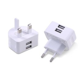 Standard Usb Tablet NZ - Mini UK European Plug Wall Charger White Charging Adapter Travel Home Standard Two Ports USB Charger For Universal Cellphone And Tablet
