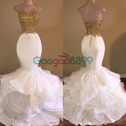 Images White Evening Dresses Australia - Sexy African White and Gold Prom Dresses Mermaid 2017 Spaghetti Strap Appliques Lace Ruffles Organza Backless Long evening party Dress