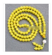 white gold tibetan necklaces 2020 - Wholesale Free delivery Rare 108 Yellow Jade Gem Beads 8mm Tibetan Buddhist Prayer Mala Necklace cheap white gold tibeta