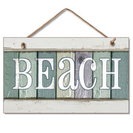 """Woods Wall Decor Canada - Hanging Wood Sign wall plaque-New Weathered Wood Beach Sign Coastal Wall Plaque Decor features the word """"BEACH"""""""